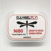 Damselfly Ni80 Fused Clapton Coil (26GA*2+36GA+24GA+32GA) 8pcs