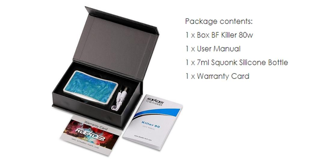 Aleader Killer 80W Squonk Box Mod Aluminium Alloy Packing List