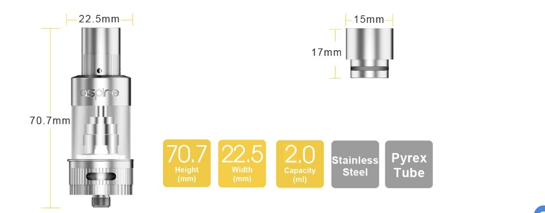 Aspire Atlantis 2 Tank parameters