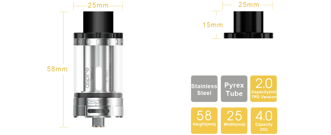 Aspire Cleito 120 Tank parameters