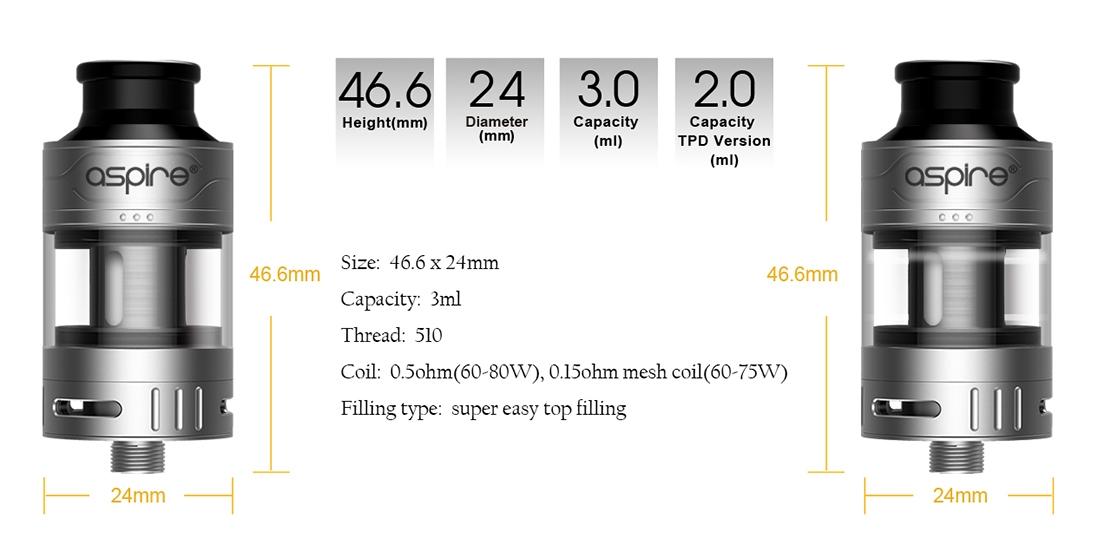 Aspire Cleito Pro Tank Dimensions