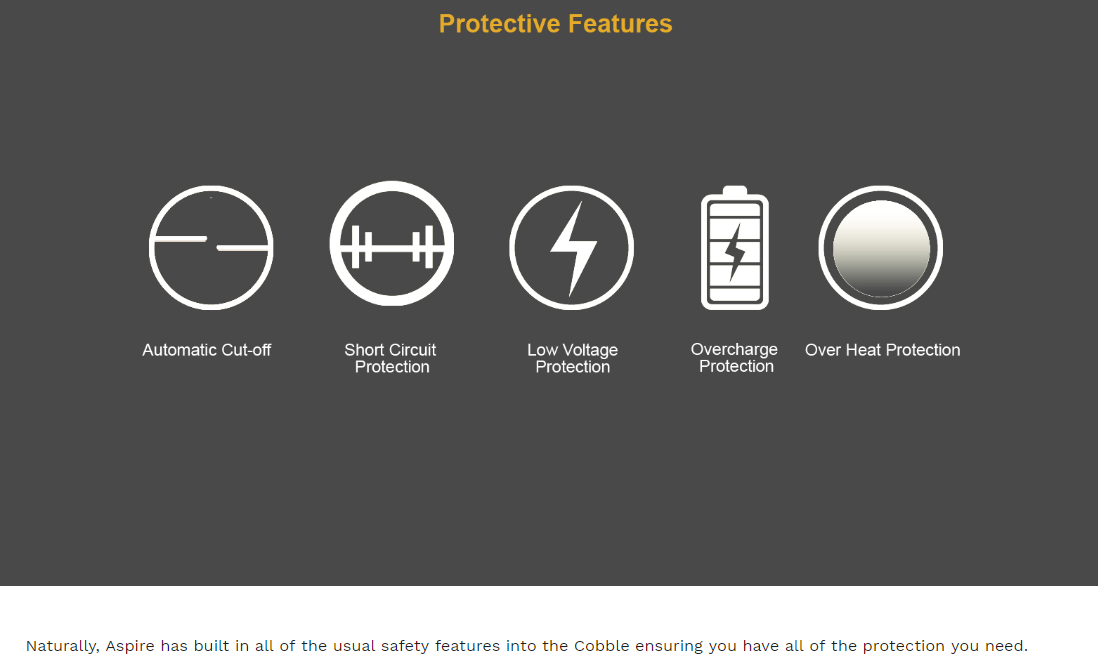 Aspire Cobble AIO Protection Features
