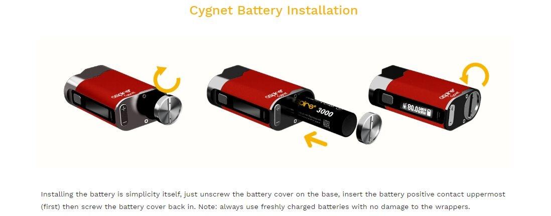 Aspire Cygnet Battery Installation