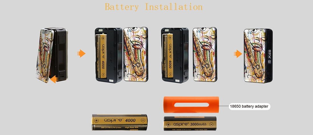 Aspire Puxos Mod Battery Installation