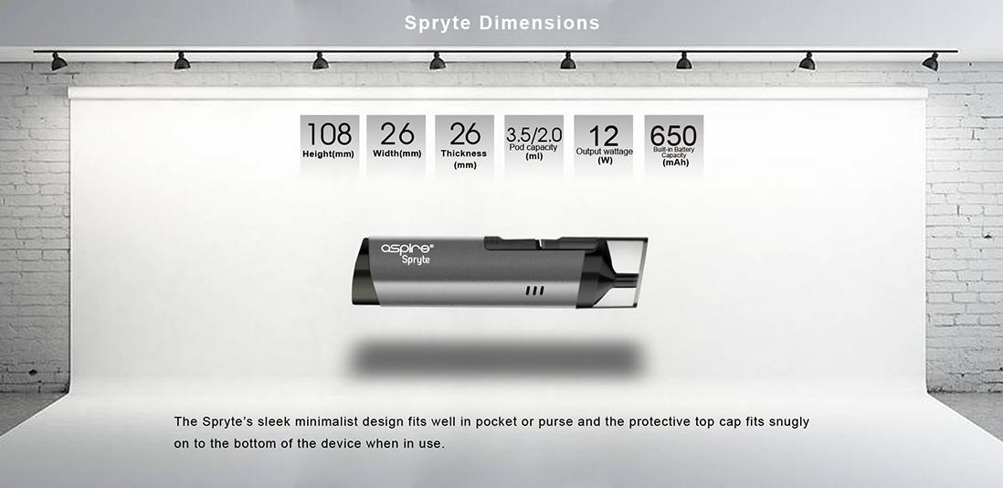 Aspire Spryte Mod Dimensions