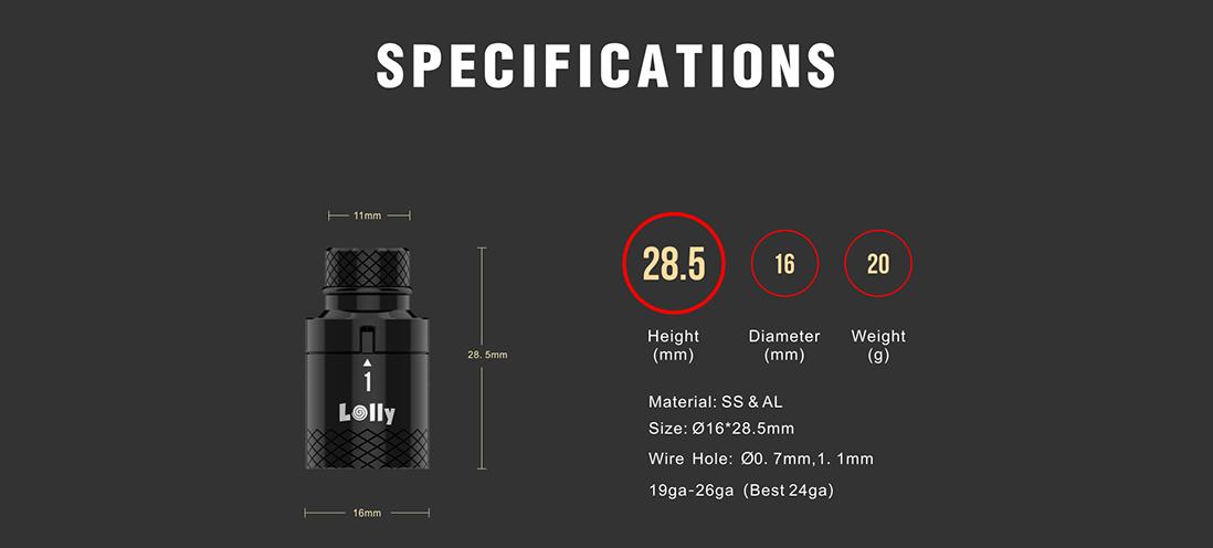 Damn Vape Lolly Tool Parameters