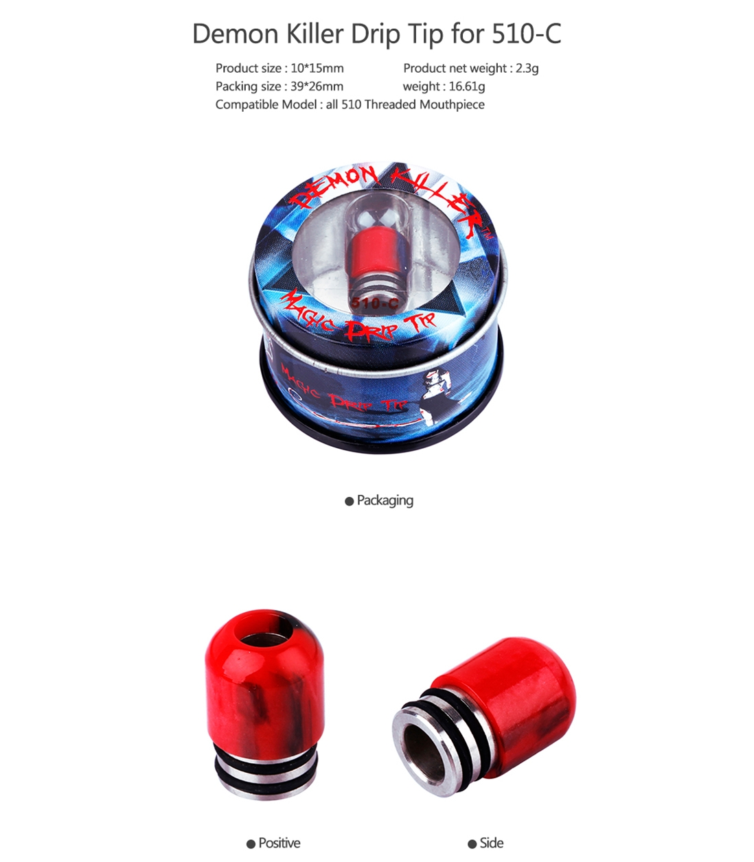 Demon Killer 510-C Resin Drip Tip Parameter