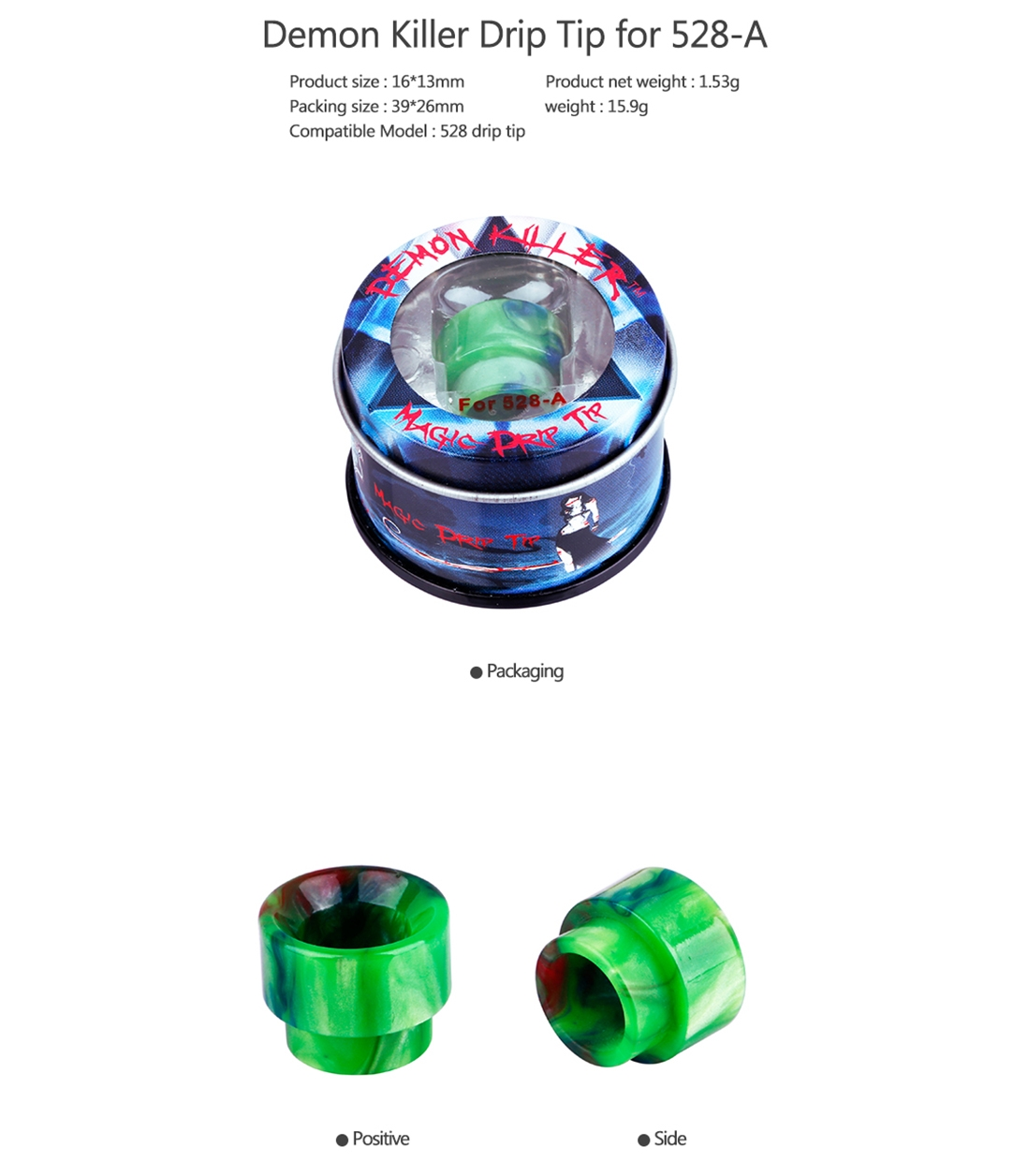 Demon Killer 528-A Resin Drip Tip Parameter