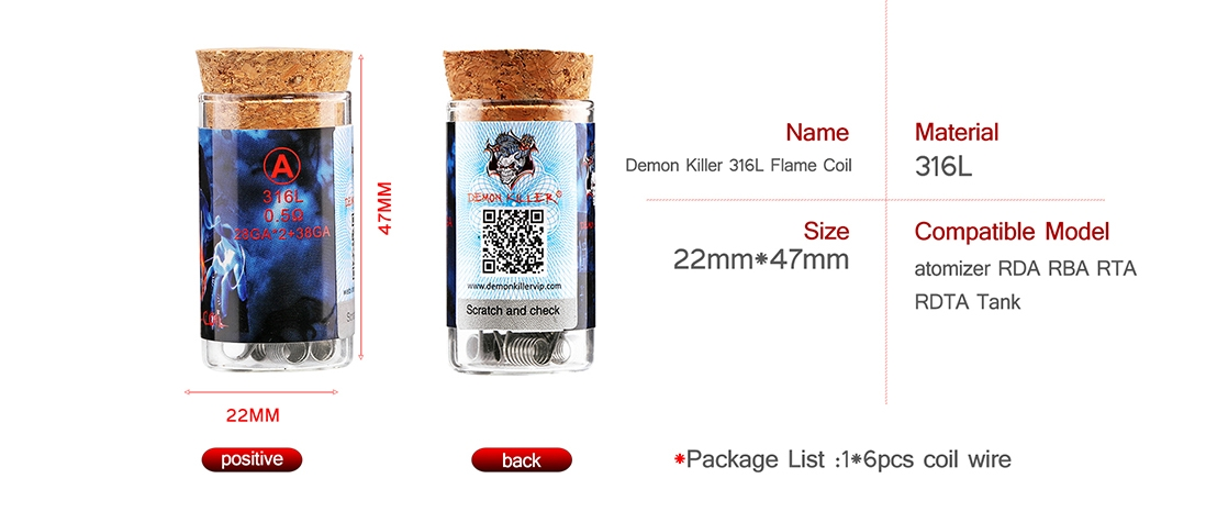 Demon Killer Flame Coil 316L Parameter