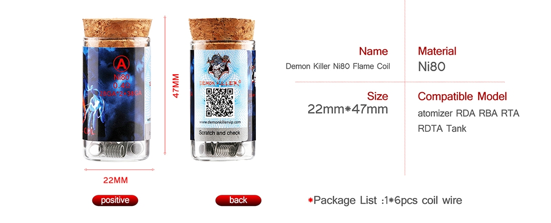 Demon Killer Flame Coil Ni80 Parameter