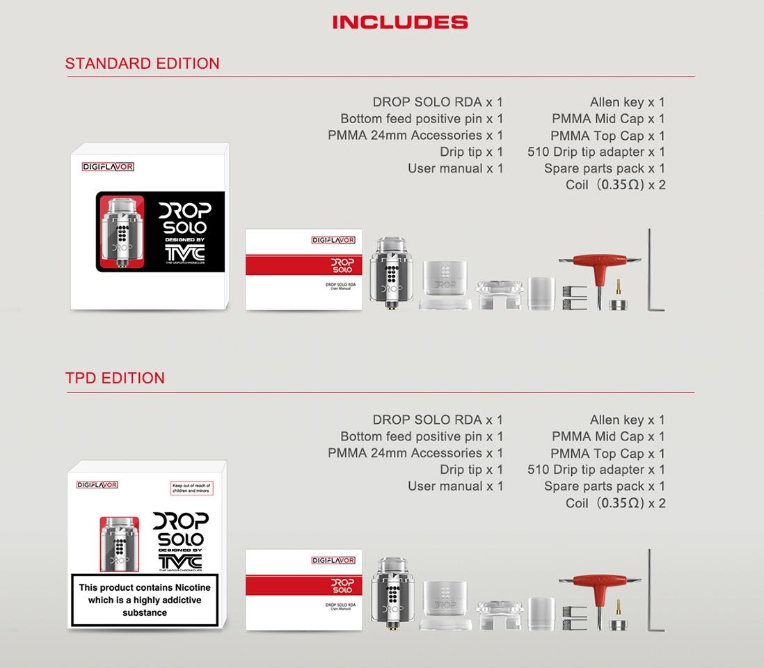 Digiflavor Drop Solo RDA Atomizer Packing List
