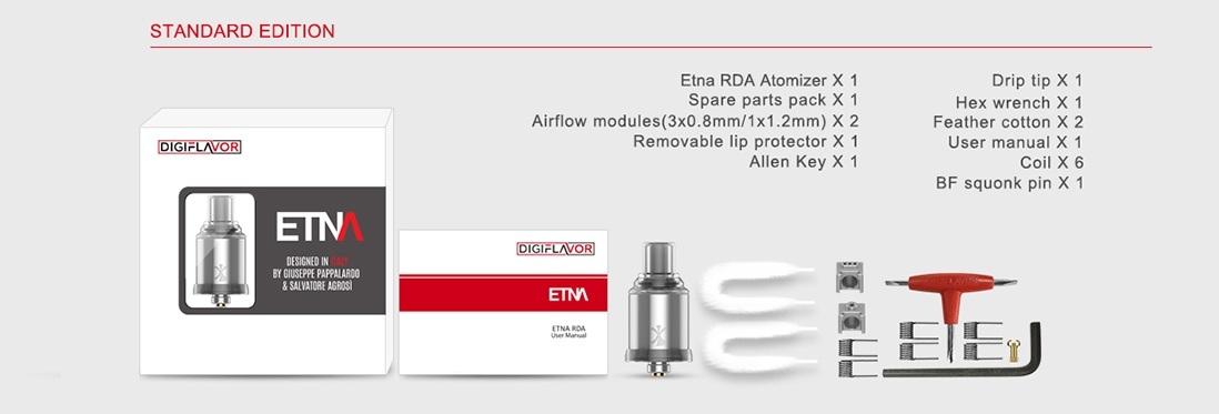 Digiflavor ETNA MTL RDA Packing List