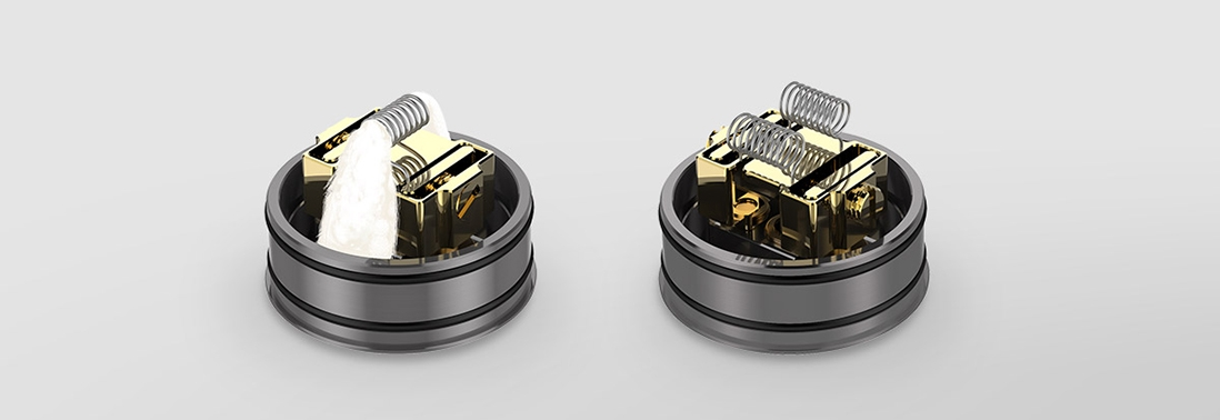 Digiflavor Mesh Pro RDA Rebuildable Atomizer Features support both single coils and dual coils