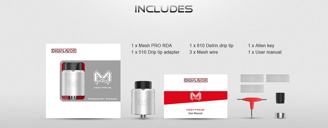 Digiflavor Mesh Pro RDA Rebuildable Atomizer Package List