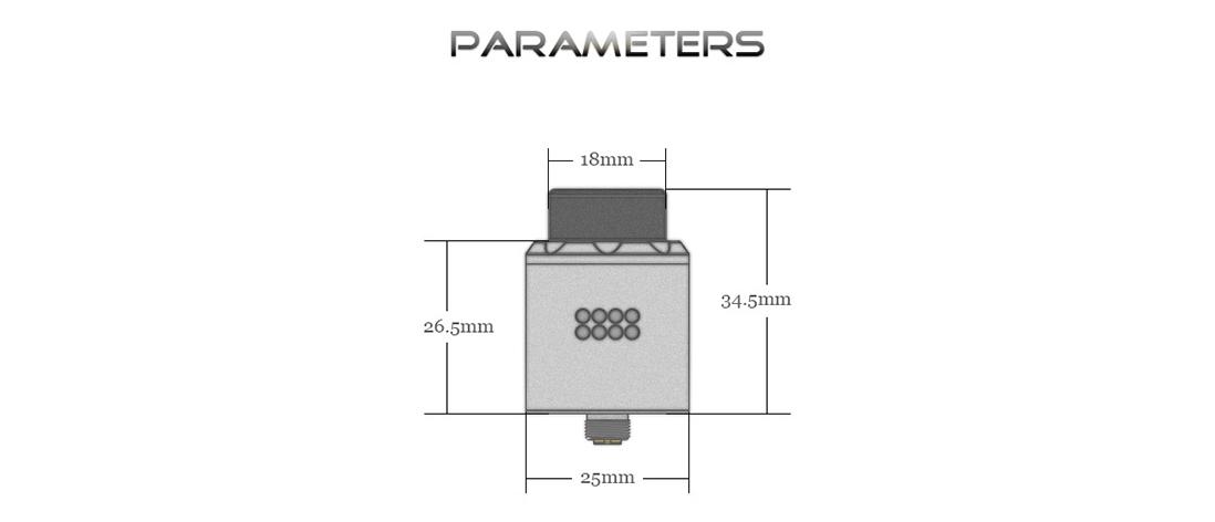 Digiflavor Mesh Pro RDA Rebuildable Atomizer Parameter