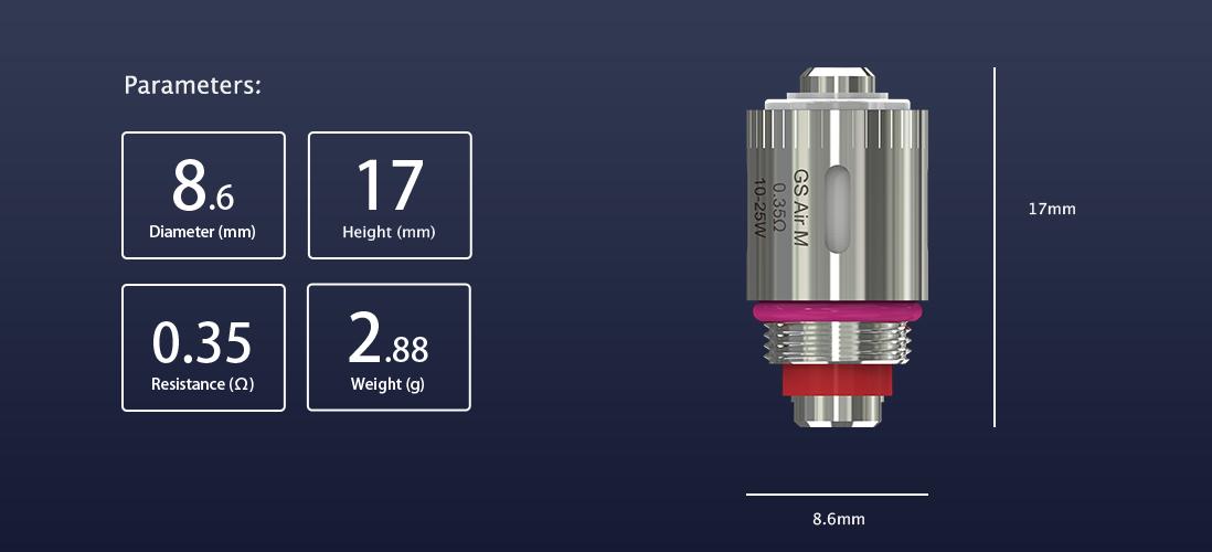 Eleaf GS Air M 0.35ohm Coil parameters