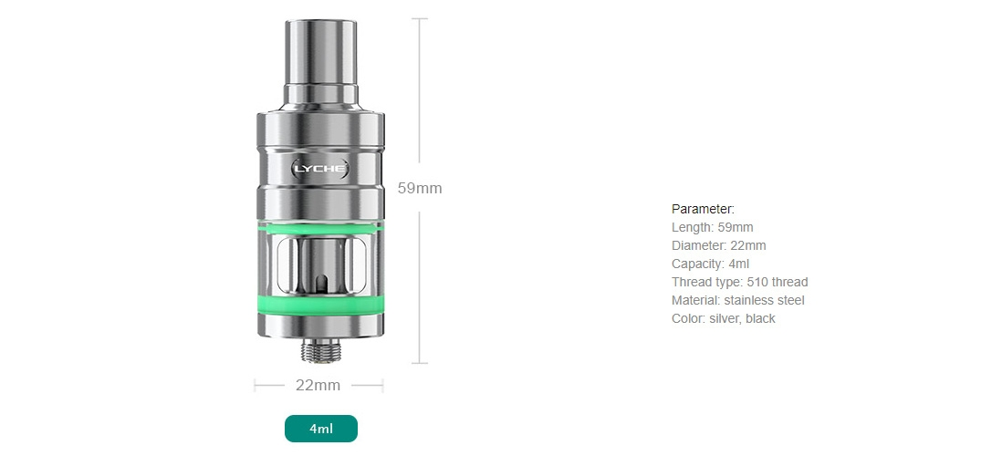 Eleaf LYCHE Atomizer with RBA Head Parameters