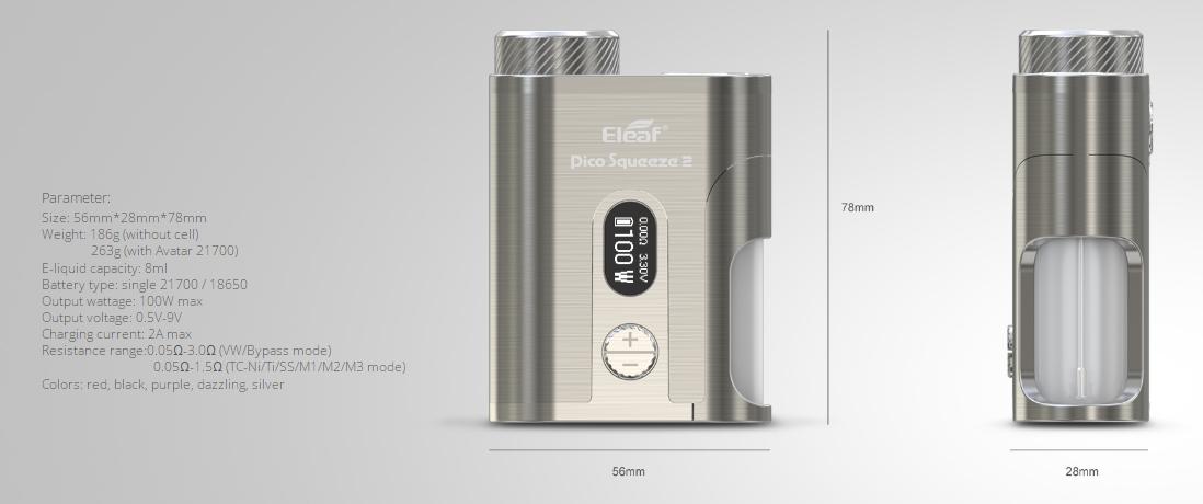 Eleaf Pico Squeeze 2 mod parameters