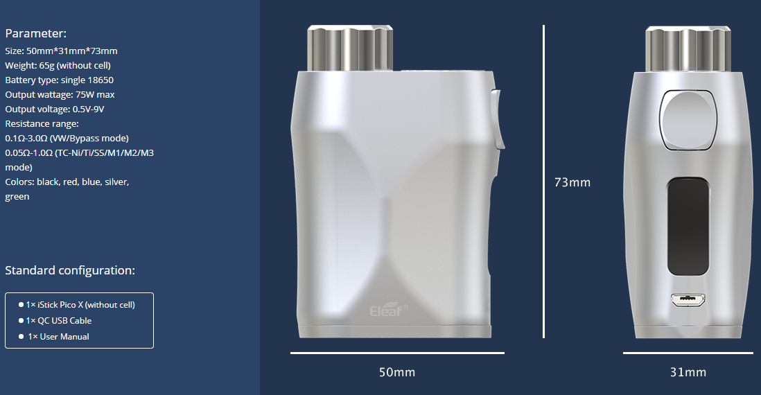 Eleaf iStick Pico X Mod Parameters