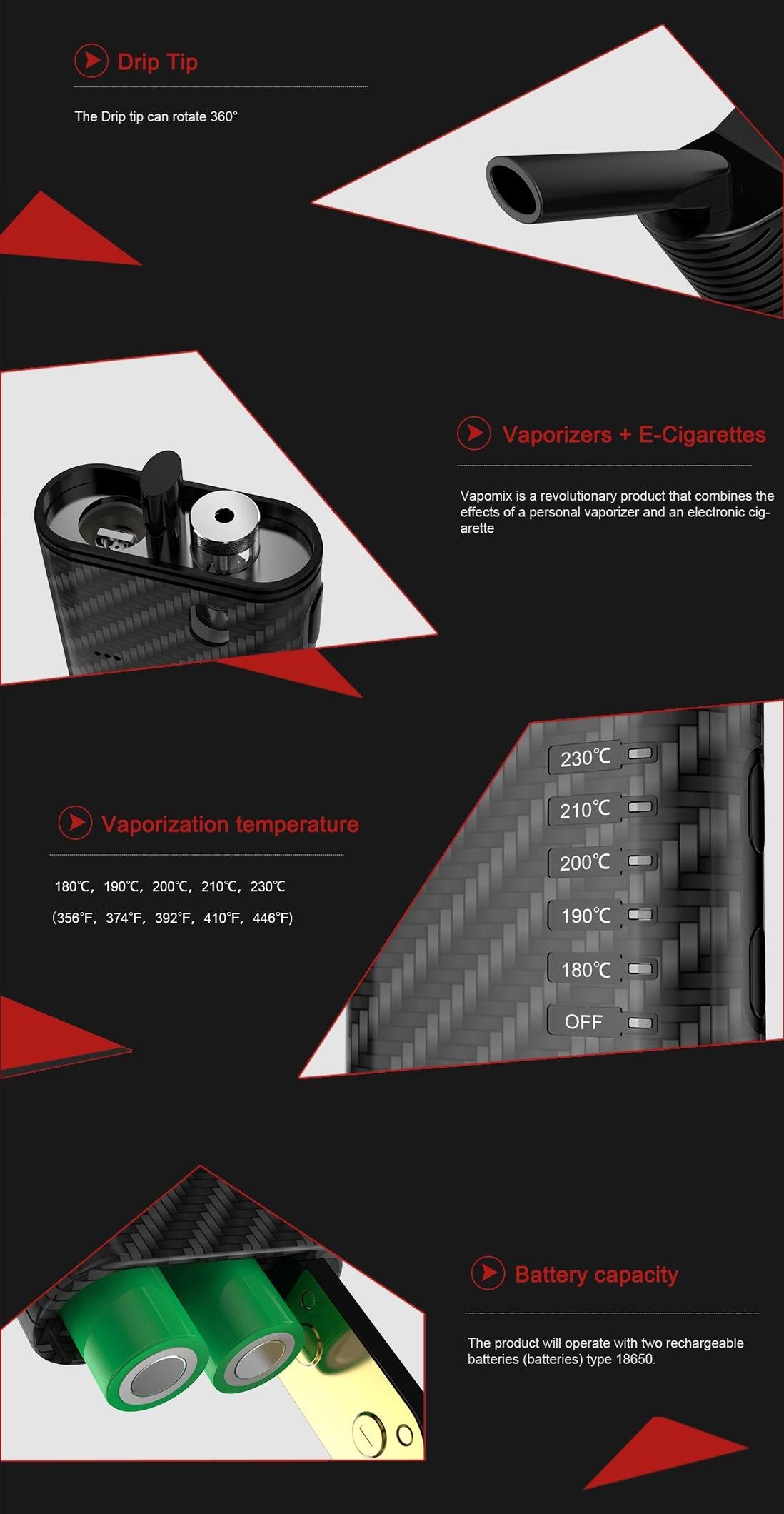 Fumytech Vapomix 2 in 1 Starter Kit Features
