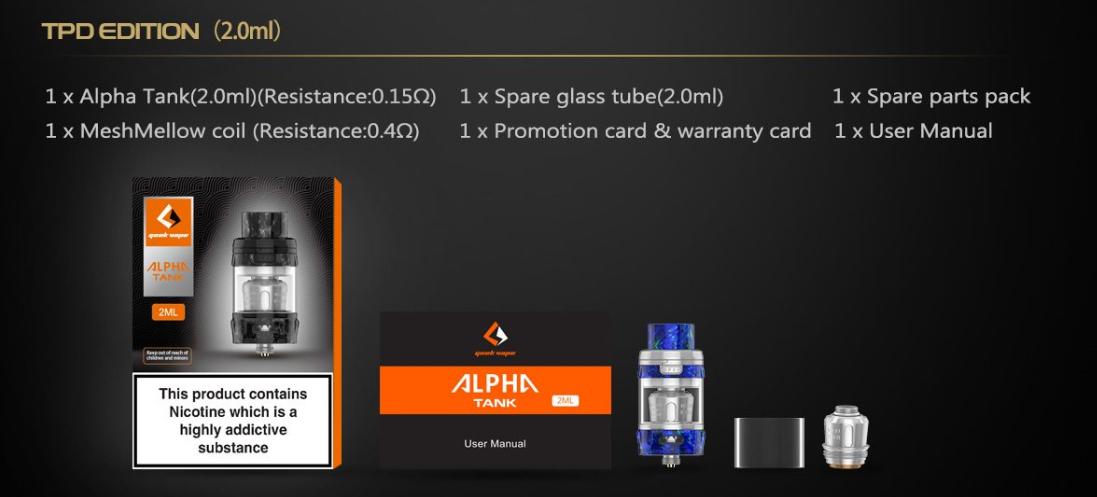 Geekvape Alpha Tank 2ml TPD Edition Packing List