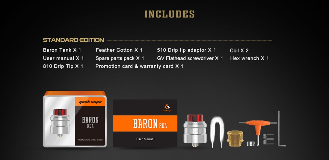 Geekvape Baron RDA Packing List