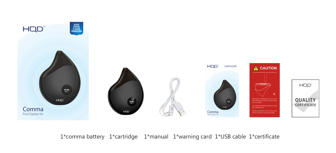 HQD COMMA Pod Kit Package