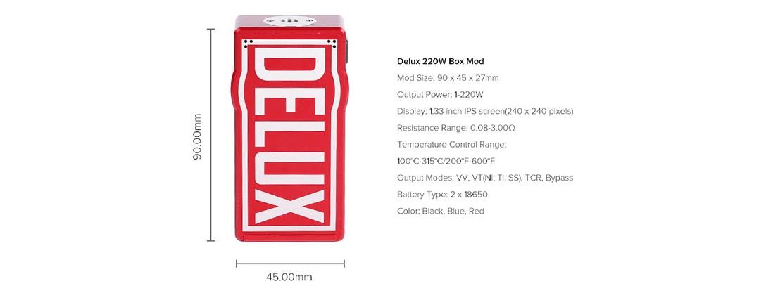 Hugo Vapor Delux 220W Mod Parameter