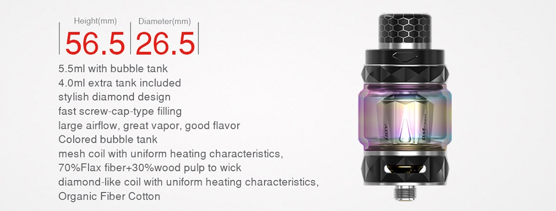 IJOY Diamond Subohm Tank Parameter