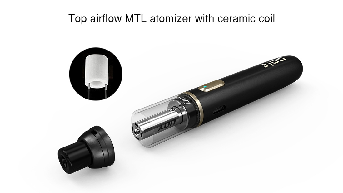 Features airflow MTL atomizer with Ceramic coil=