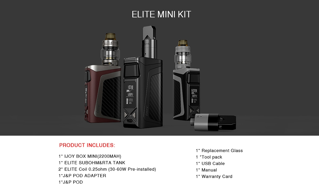 IJOY Elite Mini Starter Kit Package List