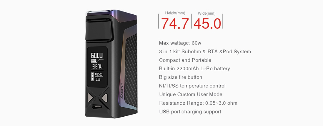 IJOY Elite Mini Kit Elite Mini Box Mod Parameter