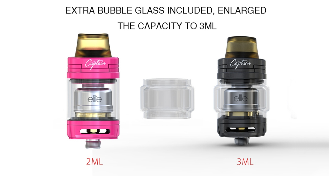 Elite Mini Kit vape tank features Extra bubble glass