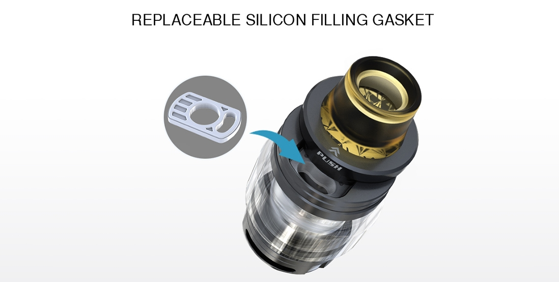 Elite Mini Kit Vape Tank Features Replaceable silicon filling gasket