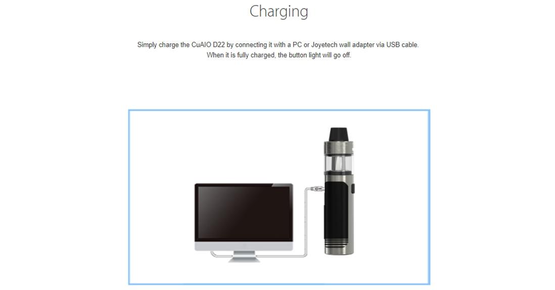 Joyetech CuAIO D22 Kit Charging
