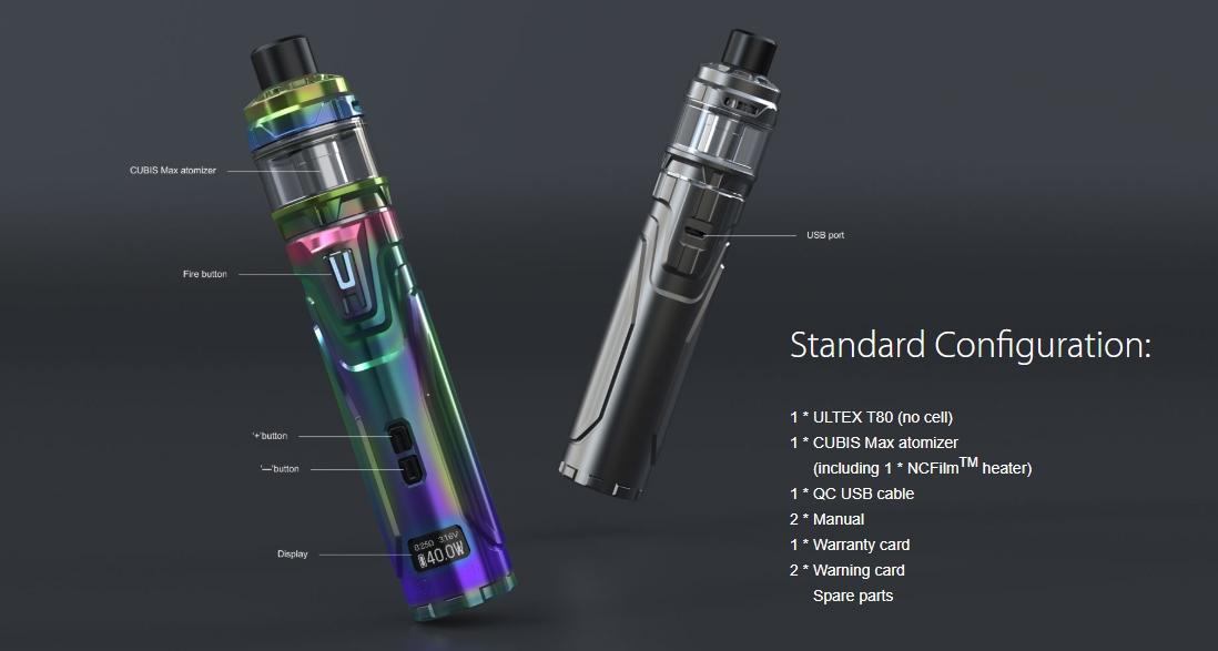 Joyetech ULTEX T80 with CUBIS Max Kit Packing List