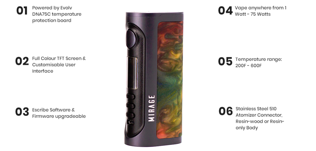 Lost Vape Mirage DNA75C Mod features