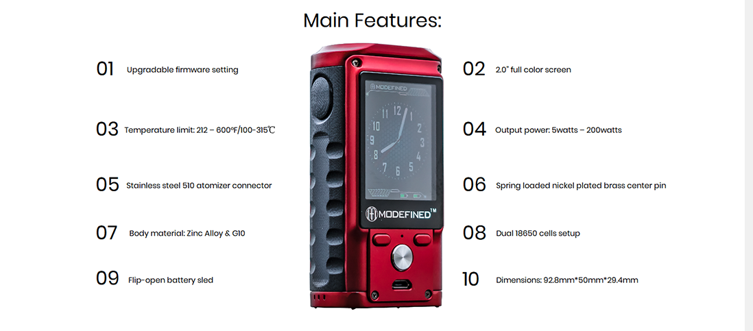 Modefined Draco 200W Mod Main Features