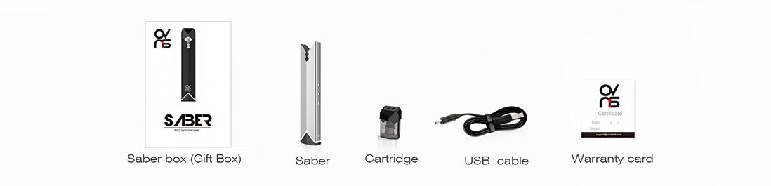 Ovns Saber Pod Vape Kit Packing List