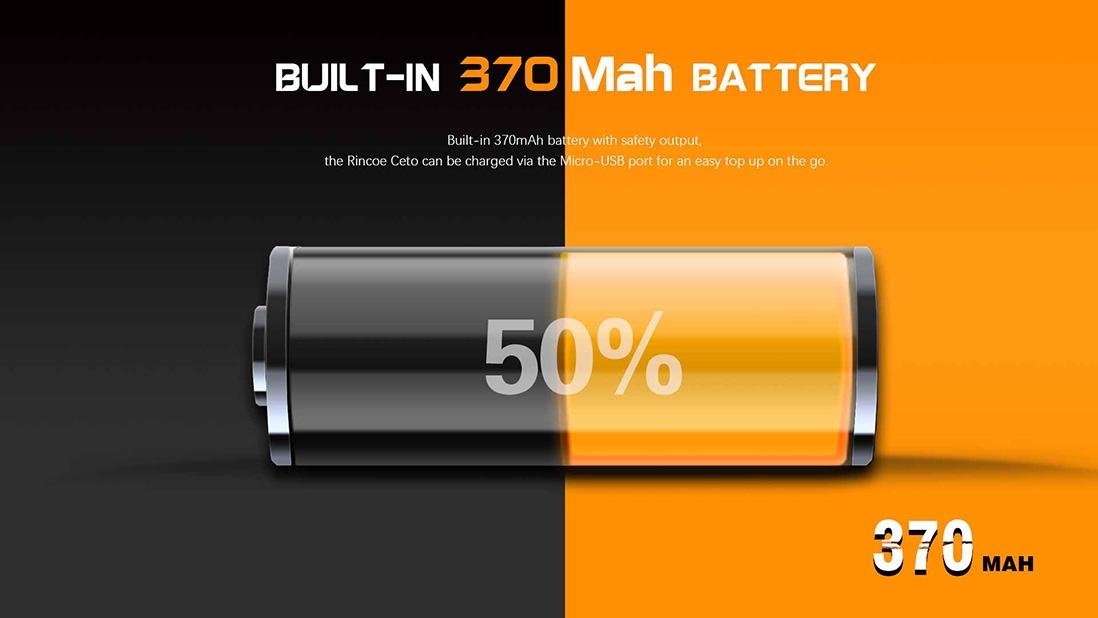 Rincoe Ceto Kit Battery Capacity