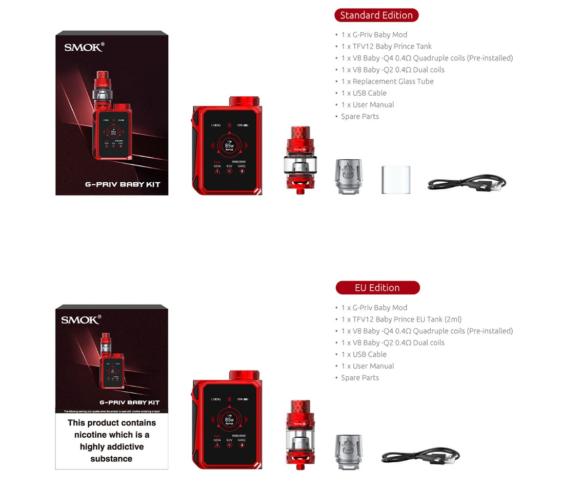 SMOK G-Priv Baby Kit Package List