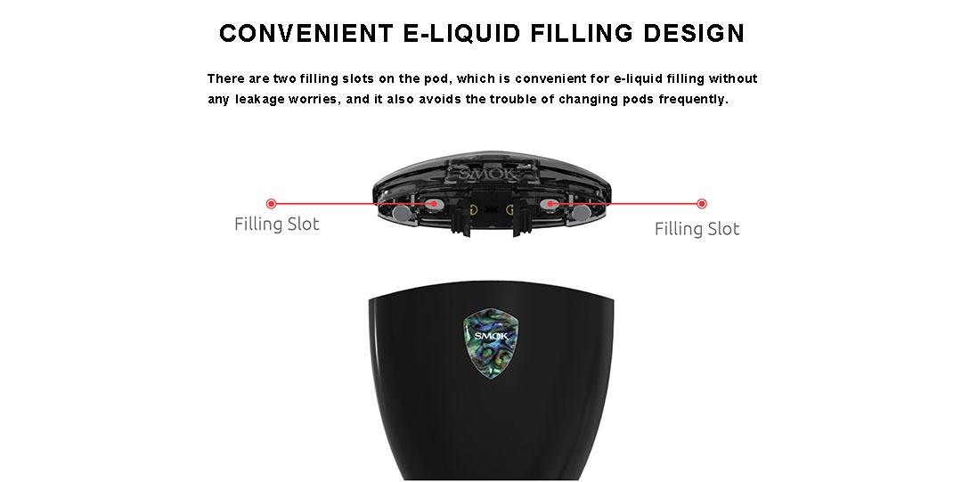 SMOK ROLO Badge Vape Pod Starter Kit features convenient e-liquid filling design
