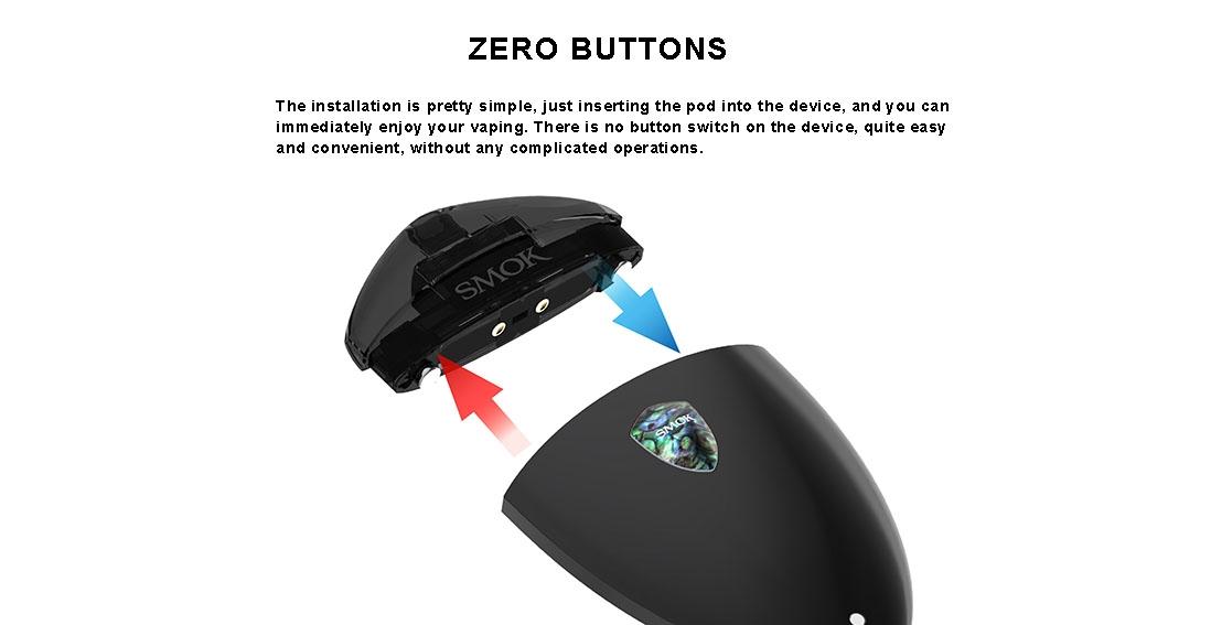 SMOK ROLO Badge Vape Pod Starter Kit Features ZERO BUTTONS