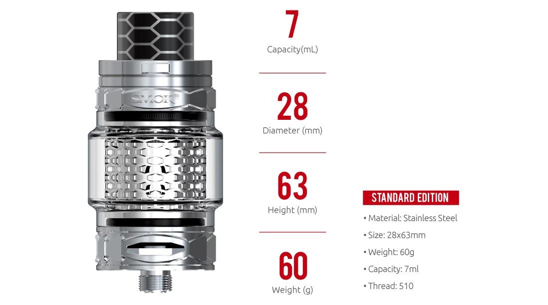 SMOK TFV12 Prince Cobra Edition Tank Parameters