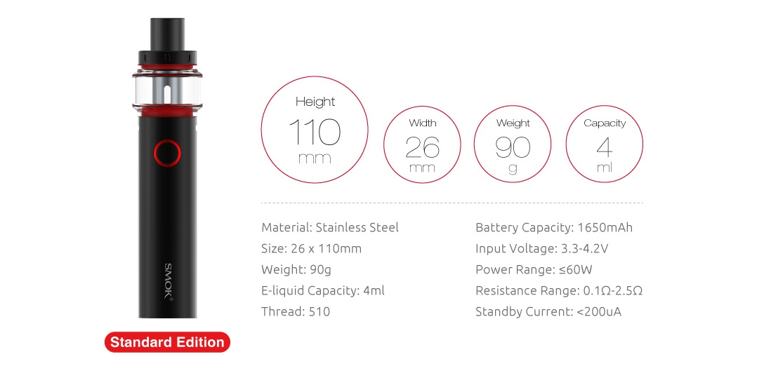 SMOK Vape Pen 22 Light Edition Kit Parameter