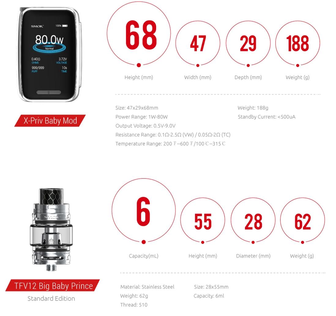 SMOK X-Priv Baby 80W TC Kit parameter