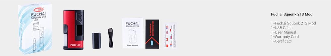 Sigelei Fuchai Squonk 213 Mod - Packing List