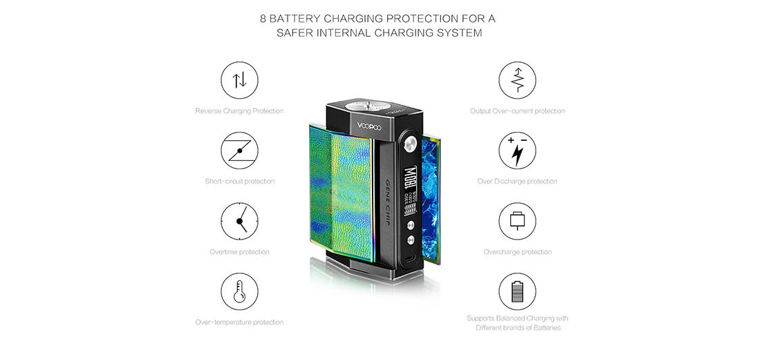 VOOPOO TOO TC 180W Box Mod Features 8 battery charging protections
