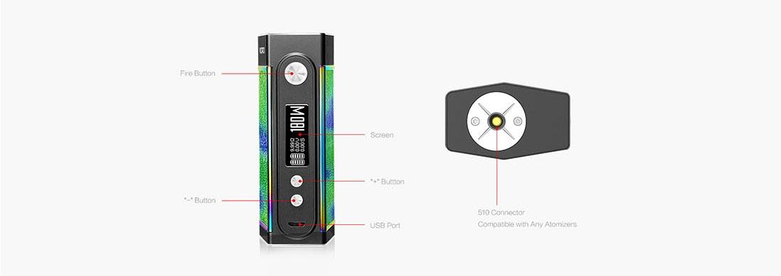 VOOPOO TOO 180W TC Box Mod Black Frame Appearance