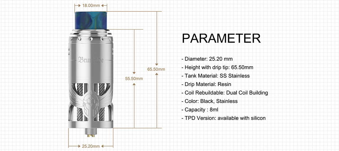 Vapefly Brunhilde Top Coiler RTA Parameters